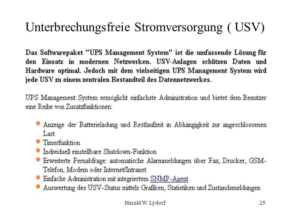 Harald W. Lydorf25 Unterbrechungsfreie Stromversorgung ( USV)