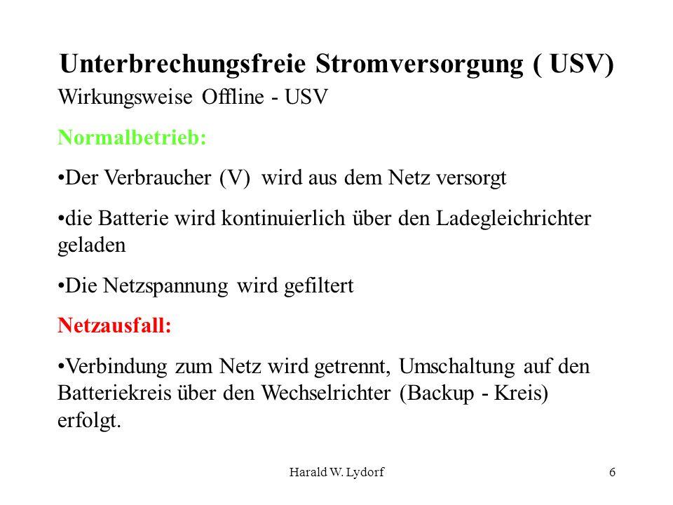 Harald W. Lydorf6 Unterbrechungsfreie Stromversorgung ( USV) Wirkungsweise Offline - USV Normalbetrieb: Der Verbraucher (V) wird aus dem Netz versorgt