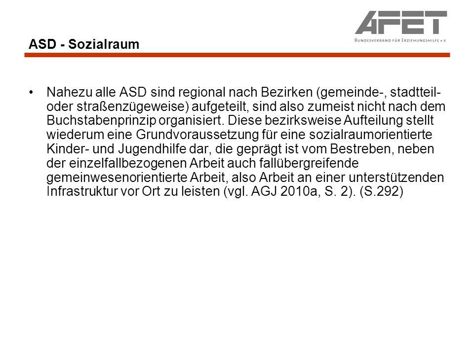 ASD - Sozialraum Nahezu alle ASD sind regional nach Bezirken (gemeinde-, stadtteil- oder straßenzügeweise) aufgeteilt, sind also zumeist nicht nach de
