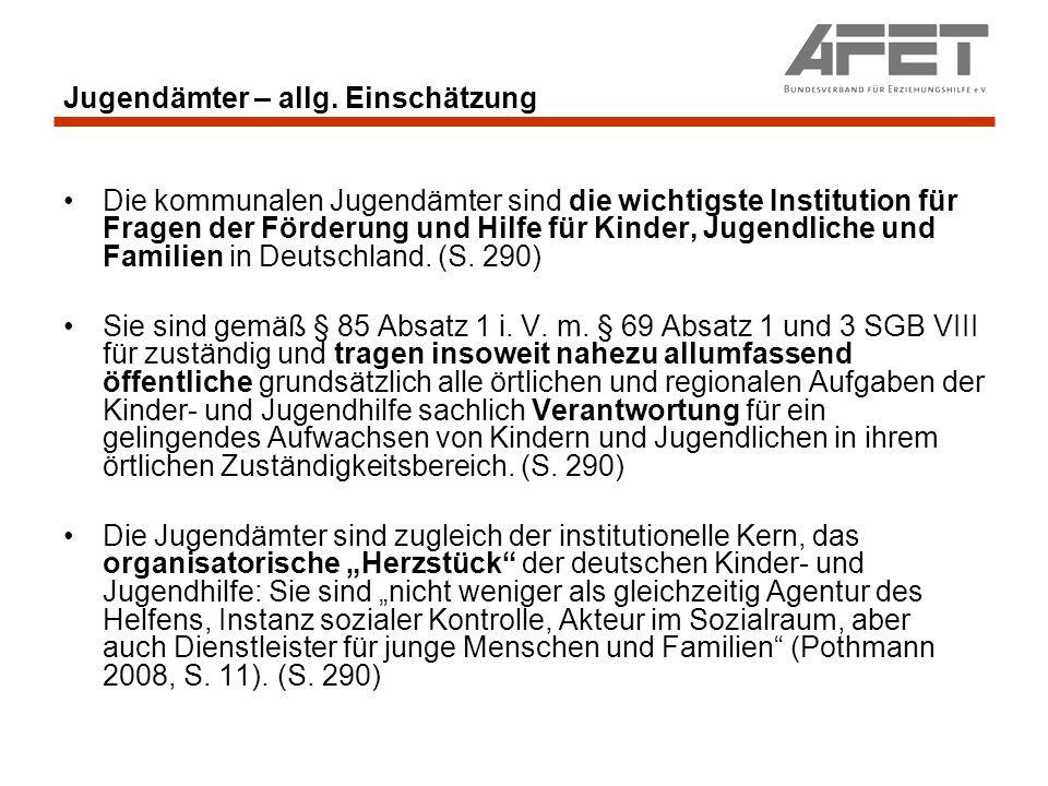 Jugendämter - Jugendhilfeplanung Kommissionskritik an der aktuellen Jugendhilfeplanung: (S.391) Verbesserungsbedürftig erscheinen vielerorts auch die Personalausstattung und die Fortbildungsangebote (Pluto u.