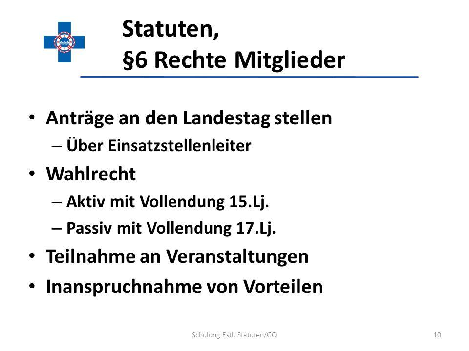 Statuten, §6 Rechte Mitglieder Anträge an den Landestag stellen – Über Einsatzstellenleiter Wahlrecht – Aktiv mit Vollendung 15.Lj. – Passiv mit Volle