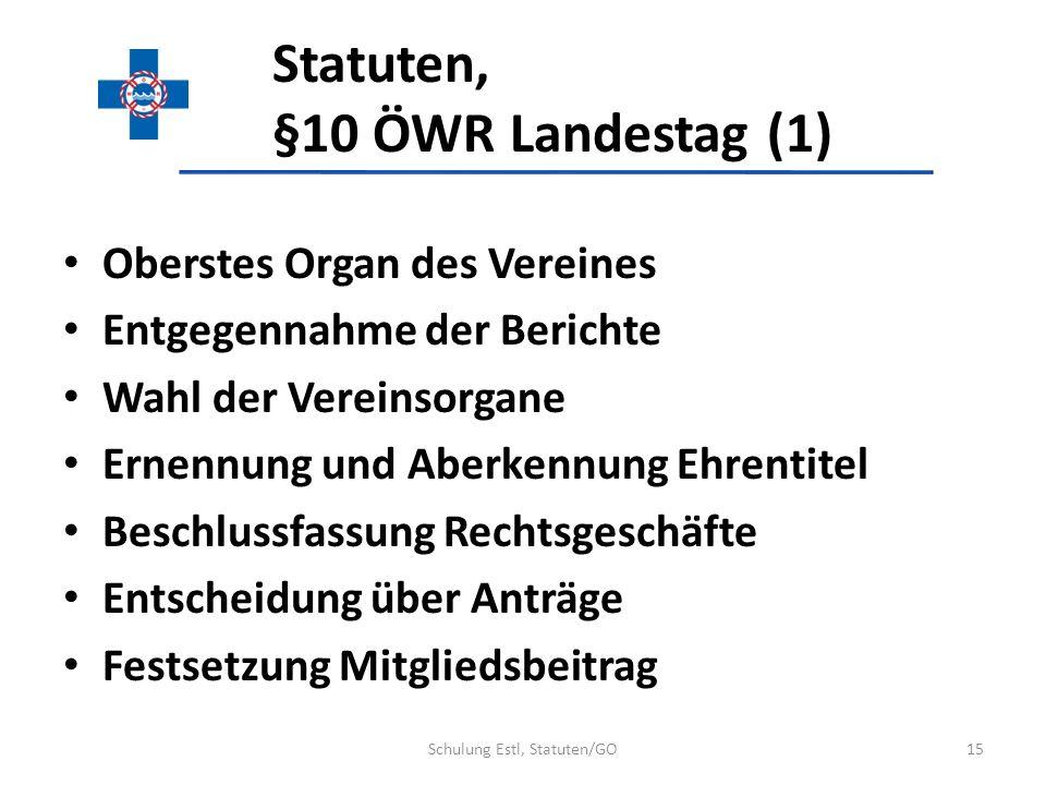 Statuten, §10 ÖWR Landestag (1) Oberstes Organ des Vereines Entgegennahme der Berichte Wahl der Vereinsorgane Ernennung und Aberkennung Ehrentitel Bes