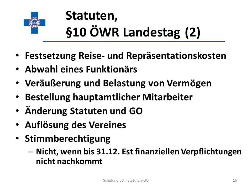Statuten, §10 ÖWR Landestag (2) Festsetzung Reise- und Repräsentationskosten Abwahl eines Funktionärs Veräußerung und Belastung von Vermögen Bestellun