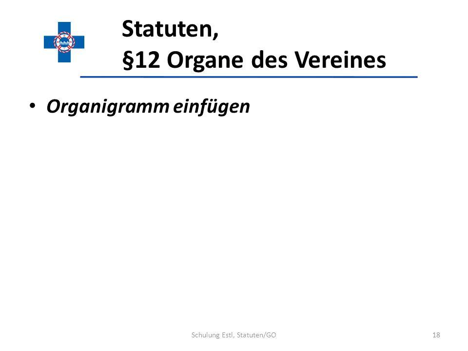 Statuten, §12 Organe des Vereines Organigramm einfügen 18Schulung Estl, Statuten/GO