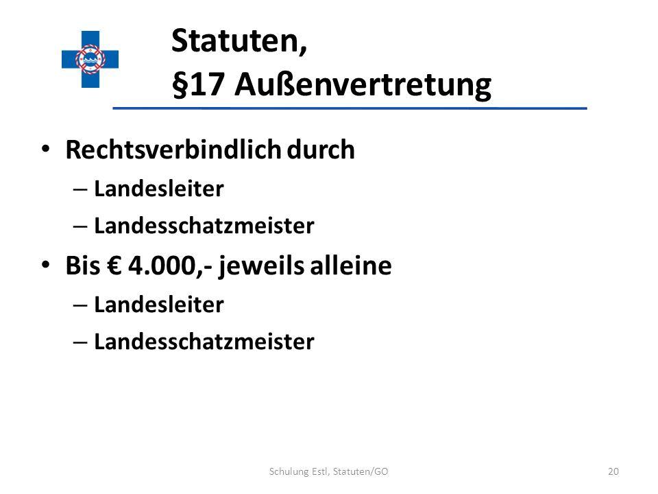 Statuten, §17 Außenvertretung Rechtsverbindlich durch – Landesleiter – Landesschatzmeister Bis 4.000,- jeweils alleine – Landesleiter – Landesschatzme