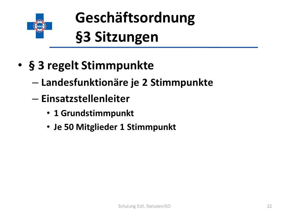 Geschäftsordnung §3 Sitzungen § 3 regelt Stimmpunkte – Landesfunktionäre je 2 Stimmpunkte – Einsatzstellenleiter 1 Grundstimmpunkt Je 50 Mitglieder 1