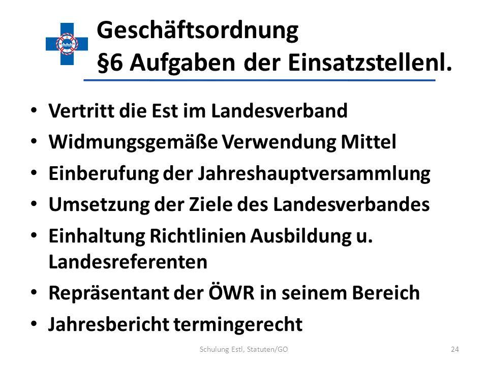 Geschäftsordnung §6 Aufgaben der Einsatzstellenl. Vertritt die Est im Landesverband Widmungsgemäße Verwendung Mittel Einberufung der Jahreshauptversam