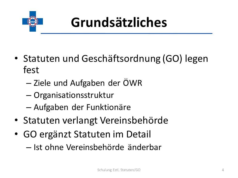 Grundsätzliches Statuten und Geschäftsordnung (GO) legen fest – Ziele und Aufgaben der ÖWR – Organisationsstruktur – Aufgaben der Funktionäre Statuten