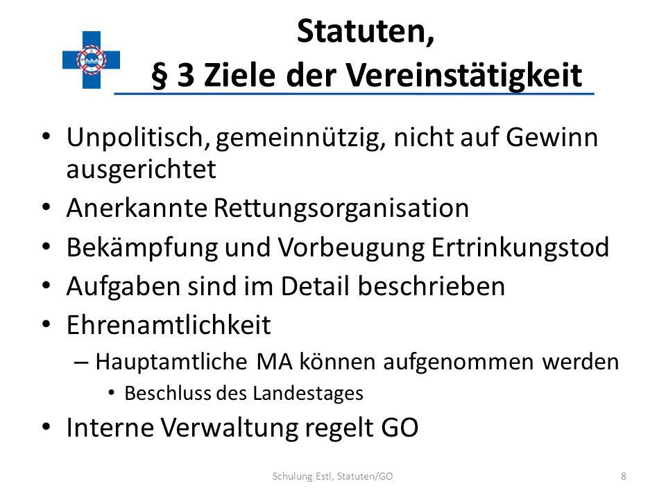 Statuten, § 3 Ziele der Vereinstätigkeit Unpolitisch, gemeinnützig, nicht auf Gewinn ausgerichtet Anerkannte Rettungsorganisation Bekämpfung und Vorbe
