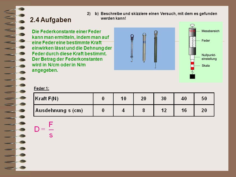 Die Federkonstante einer Feder kann man ermitteln, indem man auf eine Feder eine bestimmte Kraft einwirken lässt und die Dehnung der Feder durch diese Kraft bestimmt.