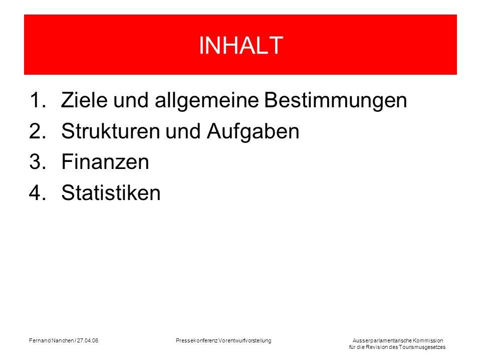 Ausserparlamentarische Kommission für die Revision des Tourismusgesetzes Fernand Nanchen / 27.04.06Pressekonferenz Vorentwurfvorstellung INHALT 1.Ziel