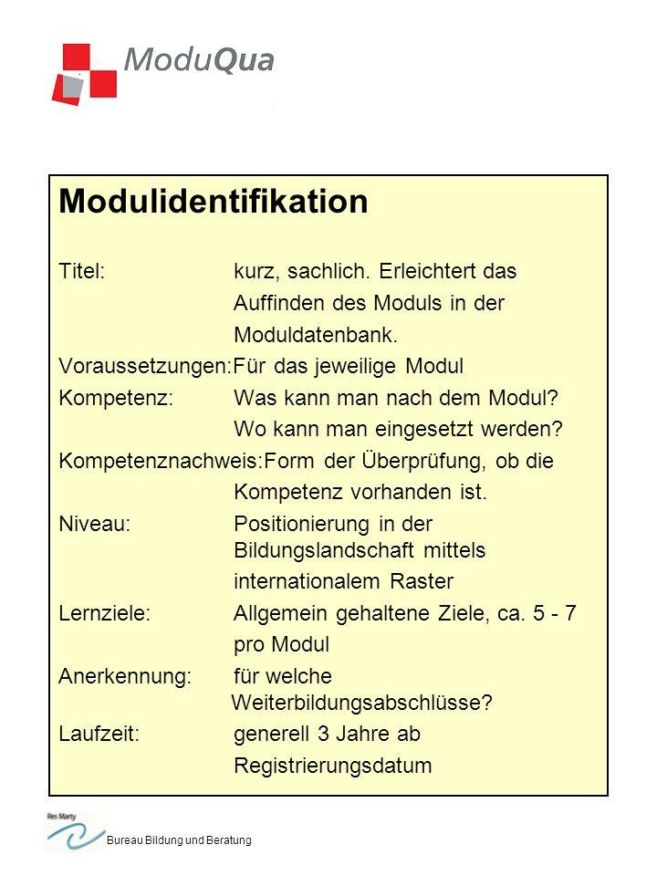 Bureau Bildung und Beratung Modulidentifikation Titel:kurz, sachlich.