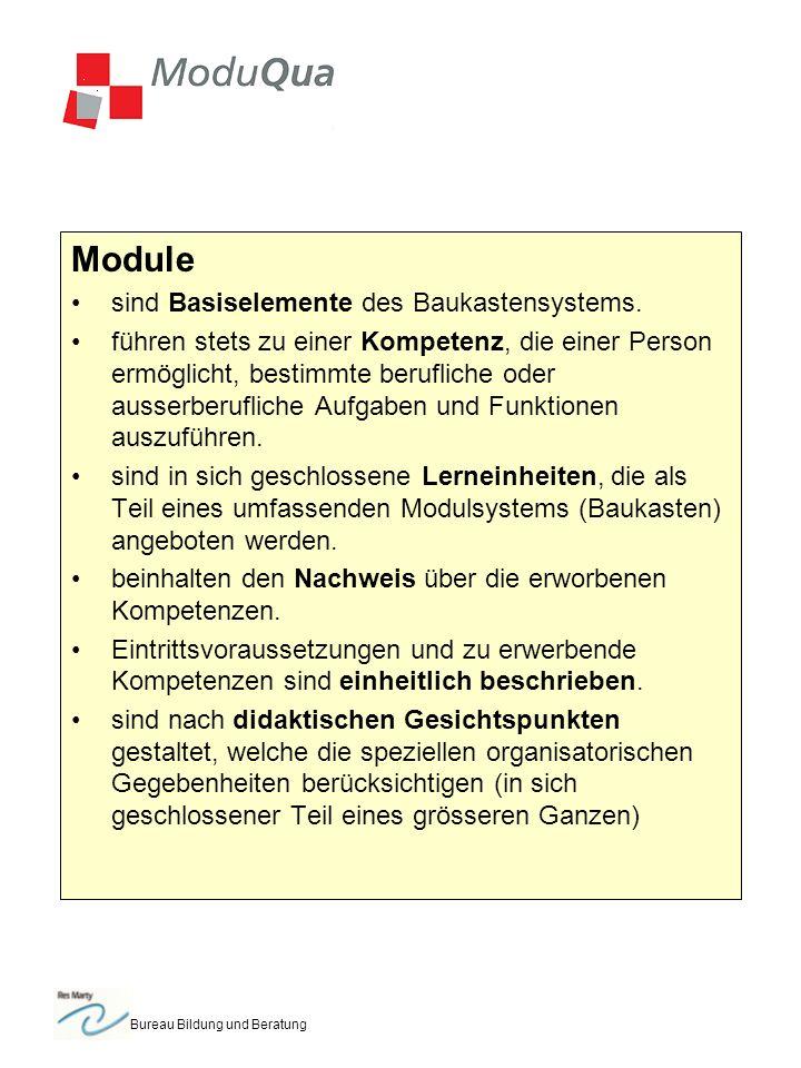 Bureau Bildung und Beratung Module sind Basiselemente des Baukastensystems.