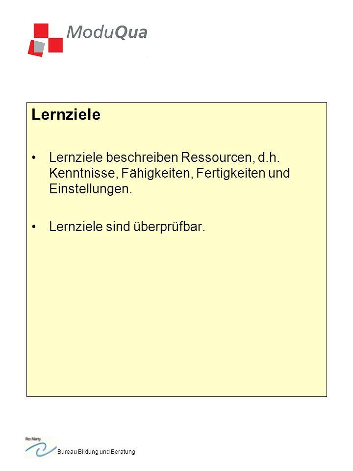 Bureau Bildung und Beratung Lernziele Lernziele beschreiben Ressourcen, d.h.