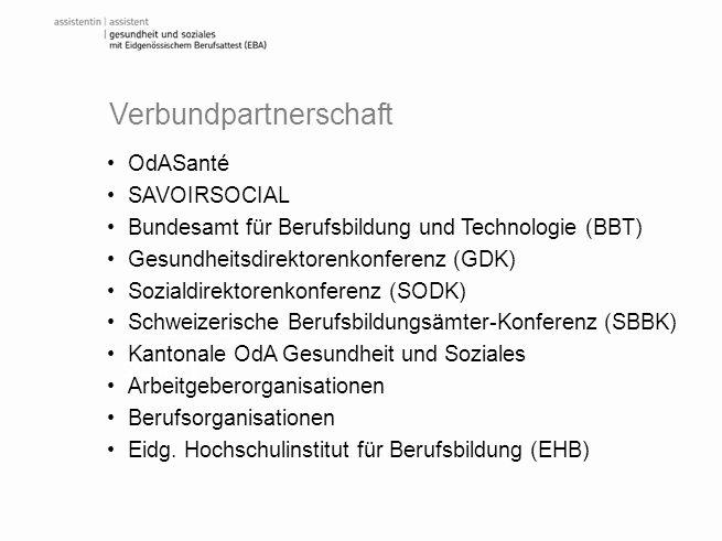 Verbundpartner schaft OdASanté SAVOIRSOCIAL Bundesamt für Berufsbildung und Technologie (BBT) Gesundheitsdirektorenkonferenz (GDK) Sozialdirektorenkon