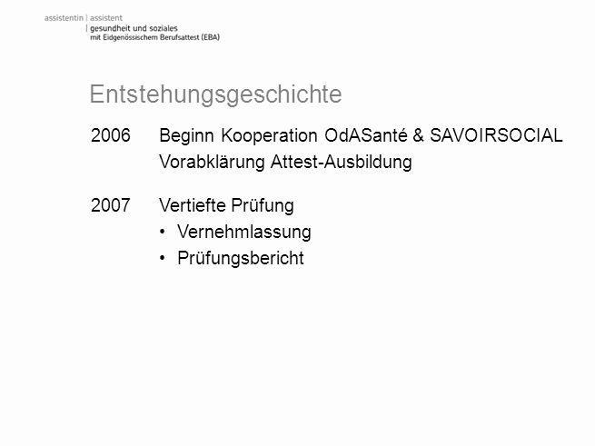 2006 Beginn Kooperation OdASanté & SAVOIRSOCIAL Vorabklärung Attest-Ausbildung 2007 Vertiefte Prüfung Vernehmlassung Prüfungsbericht Entstehungsgeschi