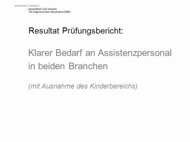 Resultat Prüfungsbericht: Klarer Bedarf an Assistenzpersonal in beiden Branchen (mit Ausnahme des Kinderbereichs)