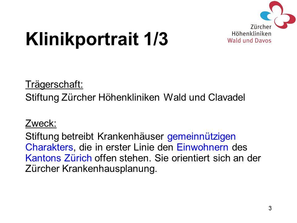 3 Klinikportrait 1/3 Trägerschaft: Stiftung Zürcher Höhenkliniken Wald und Clavadel Zweck: Stiftung betreibt Krankenhäuser gemeinnützigen Charakters,
