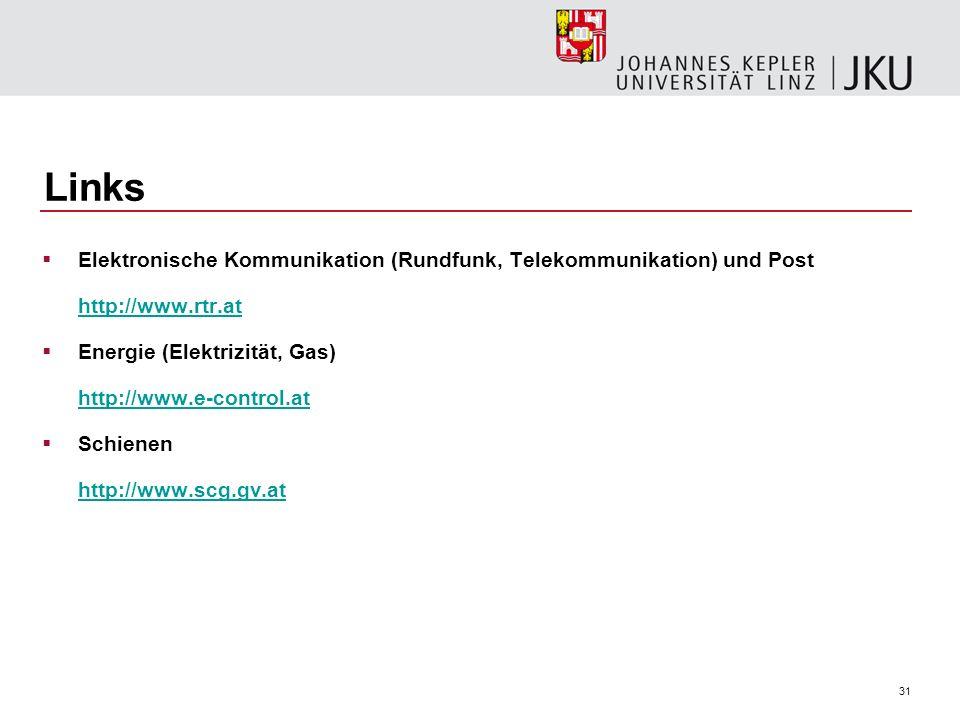 31 Links Elektronische Kommunikation (Rundfunk, Telekommunikation) und Post http://www.rtr.at Energie (Elektrizität, Gas) http://www.e-control.at Schi