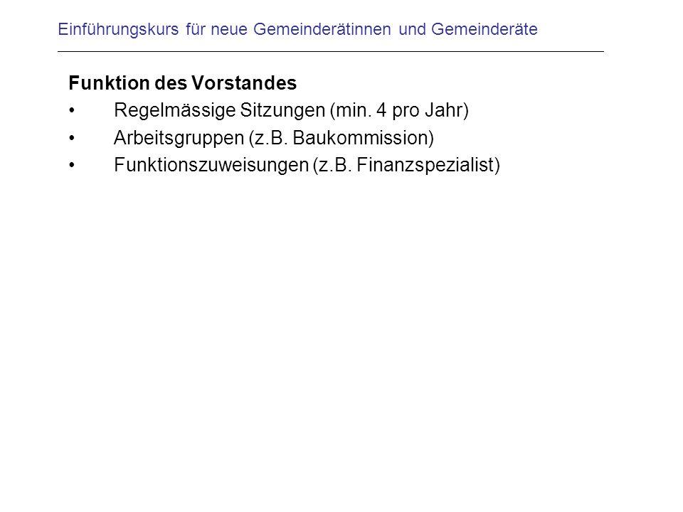 Einführungskurs für neue Gemeinderätinnen und Gemeinderäte Funktion des Vorstandes Regelmässige Sitzungen (min.
