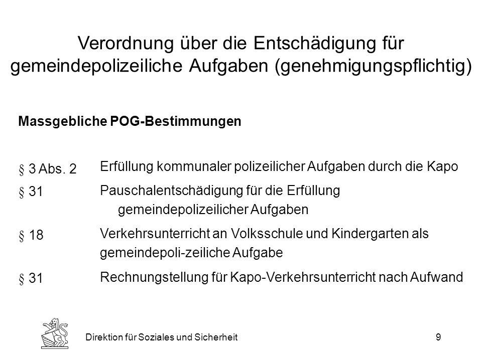 Direktion für Soziales und Sicherheit9 Verordnung über die Entschädigung für gemeindepolizeiliche Aufgaben (genehmigungspflichtig) Massgebliche POG-Bestimmungen Erfüllung kommunaler polizeilicher Aufgaben durch die Kapo Pauschalentschädigung für die Erfüllung gemeindepolizeilicher Aufgaben Verkehrsunterricht an Volksschule und Kindergarten als gemeindepoli-zeiliche Aufgabe Rechnungstellung für Kapo-Verkehrsunterricht nach Aufwand § 3 Abs.
