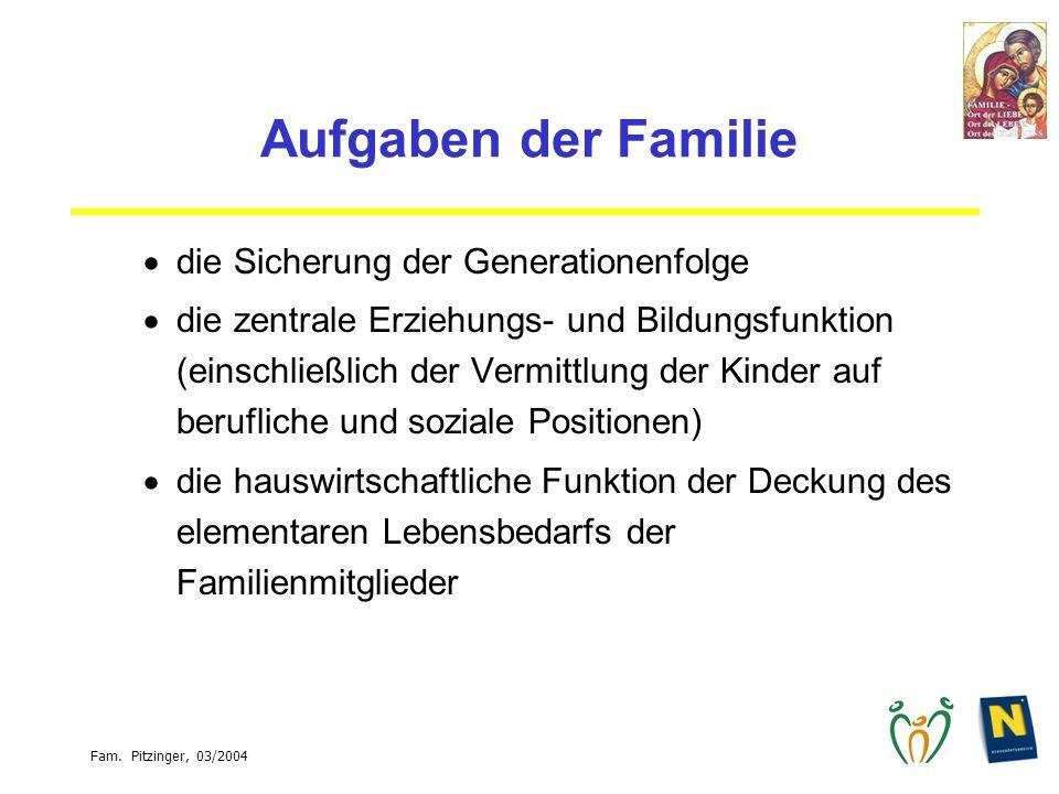 Aufgaben der Familie die Sicherung der Generationenfolge die zentrale Erziehungs- und Bildungsfunktion (einschließlich der Vermittlung der Kinder auf