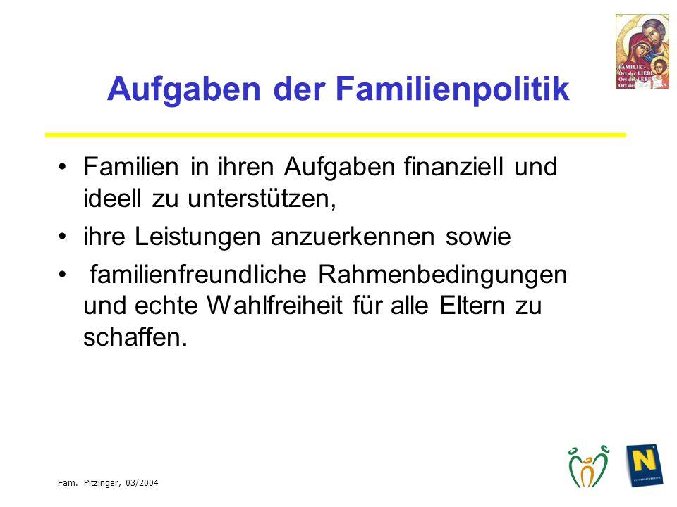 Fam. Pitzinger, 03/2004 Aufgaben der Familienpolitik Familien in ihren Aufgaben finanziell und ideell zu unterstützen, ihre Leistungen anzuerkennen so