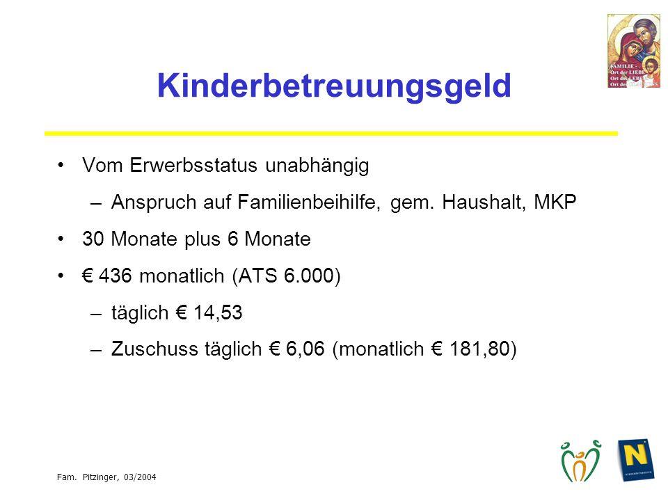 Fam. Pitzinger, 03/2004 Kinderbetreuungsgeld Vom Erwerbsstatus unabhängig –Anspruch auf Familienbeihilfe, gem. Haushalt, MKP 30 Monate plus 6 Monate 4