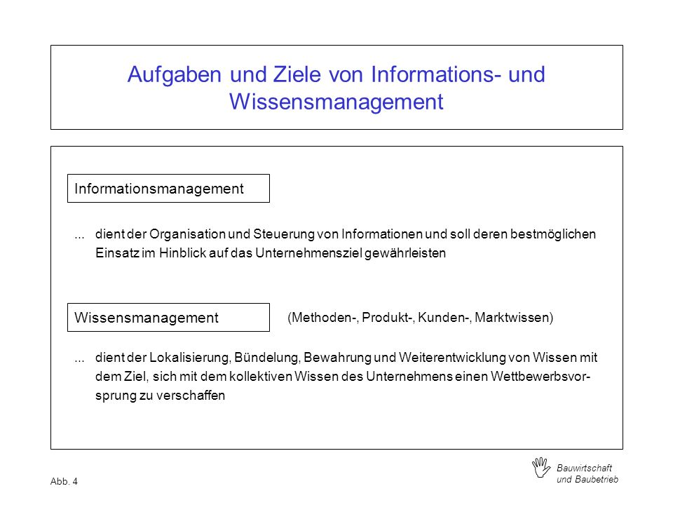 I Bauwirtschaft und Baubetrieb Aufgaben und Ziele von Informations- und Wissensmanagement Informationsmanagement... dient der Organisation und Steueru