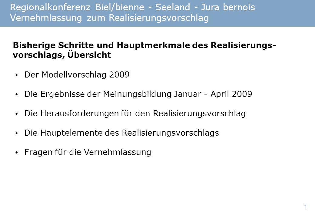 2 Regionalkonferenz Biel/bienne - Seeland - Jura bernois Vernehmlassung zum Realisierungsvorschlag Teilkonferenz Jura-Bienne Teilkonferenz seeland.biel/bienne Teilkonferenz Kultur Teilkonferenz Agglomeration Biel Der Modellvorschlag 2009: 4 Teilkonferenzen