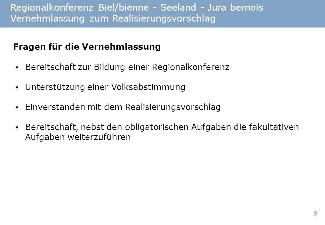 9 Regionalkonferenz Biel/bienne - Seeland - Jura bernois Vernehmlassung zum Realisierungsvorschlag Fragen für die Vernehmlassung Bereitschaft zur Bildung einer Regionalkonferenz Unterstützung einer Volksabstimmung Einverstanden mit dem Realisierungsvorschlag Bereitschaft, nebst den obligatorischen Aufgaben die fakultativen Aufgaben weiterzuführen