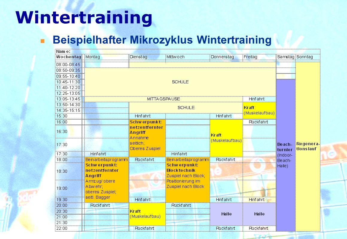 Beispielhafter Mikrozyklus Wintertraining Wintertraining