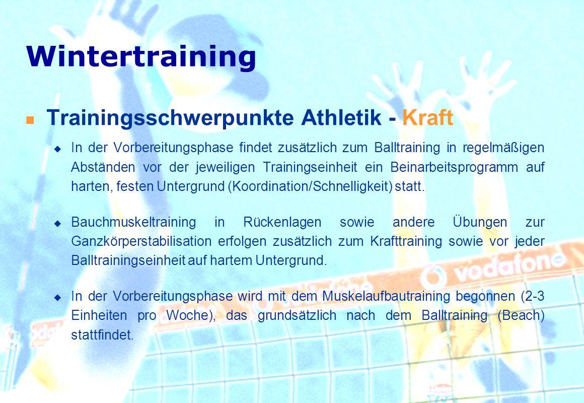 Trainingsschwerpunkte Athletik - Kraft In der Vorbereitungsphase findet zusätzlich zum Balltraining in regelmäßigen Abständen vor der jeweiligen Train