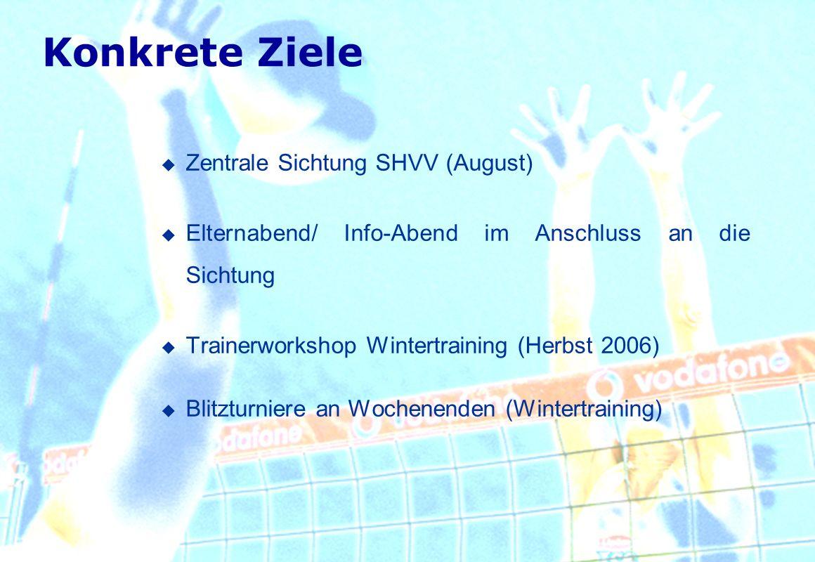 Konkrete Ziele Zentrale Sichtung SHVV (August) Elternabend/ Info-Abend im Anschluss an die Sichtung Trainerworkshop Wintertraining (Herbst 2006) Blitz