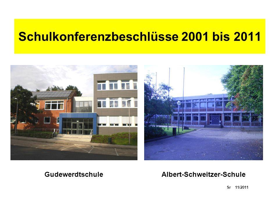 Schulkonferenzbeschlüsse 2001 bis 2011 GudewerdtschuleAlbert-Schweitzer-Schule Sr 11/2011