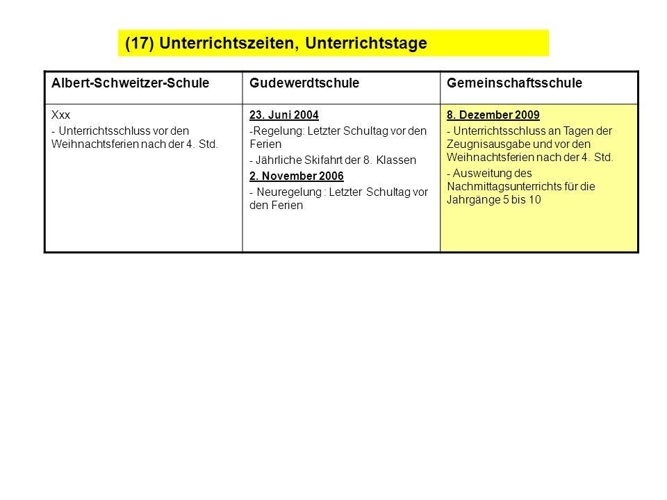 (17) Unterrichtszeiten, Unterrichtstage Albert-Schweitzer-SchuleGudewerdtschuleGemeinschaftsschule Xxx - Unterrichtsschluss vor den Weihnachtsferien n