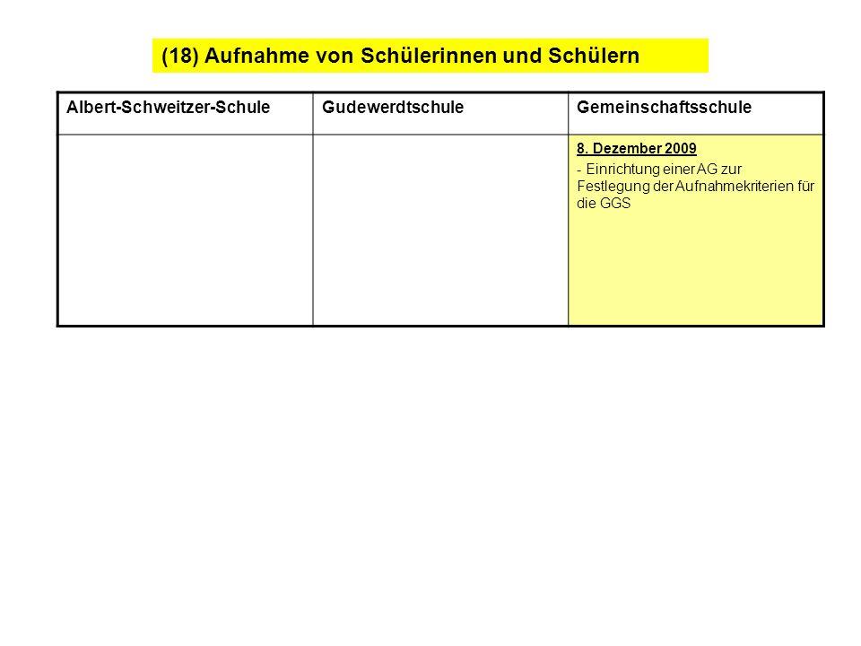 (18) Aufnahme von Schülerinnen und Schülern Albert-Schweitzer-SchuleGudewerdtschuleGemeinschaftsschule 8. Dezember 2009 - Einrichtung einer AG zur Fes