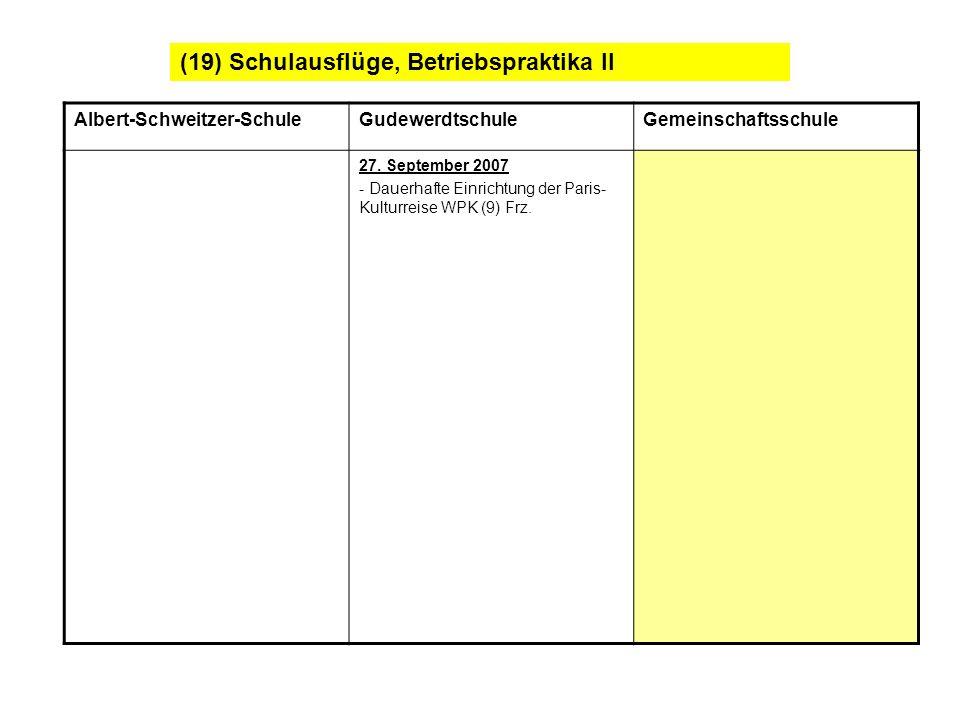 (19) Schulausflüge, Betriebspraktika II Albert-Schweitzer-SchuleGudewerdtschuleGemeinschaftsschule 27. September 2007 - Dauerhafte Einrichtung der Par