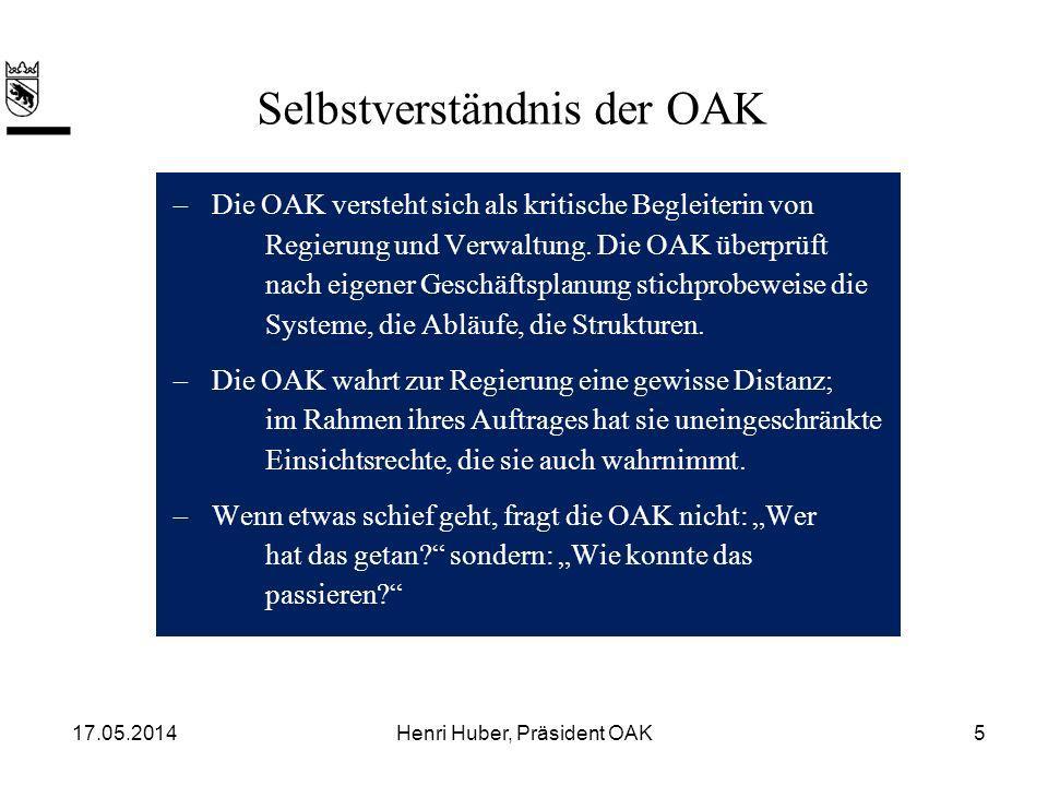 Im Bereich der Aussenbeziehungen hat die OAK drei Aufgaben: –Koordination –Vorberatung –Oberaufsicht Die Rolle der OAK in den Aussenbeziehungen 17.05.20146Henri Huber, Präsident OAK