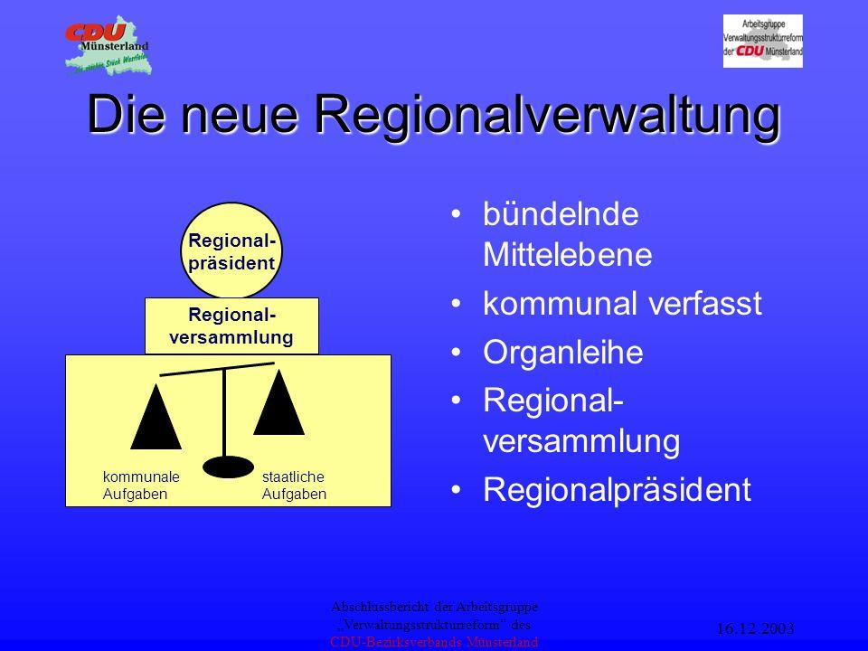 16.12.2003 Abschlussbericht der Arbeitsgruppe Verwaltungsstrukturreform des CDU-Bezirksverbands Münsterland Konzept KVR Bezirks- regierung Arnsberg Be