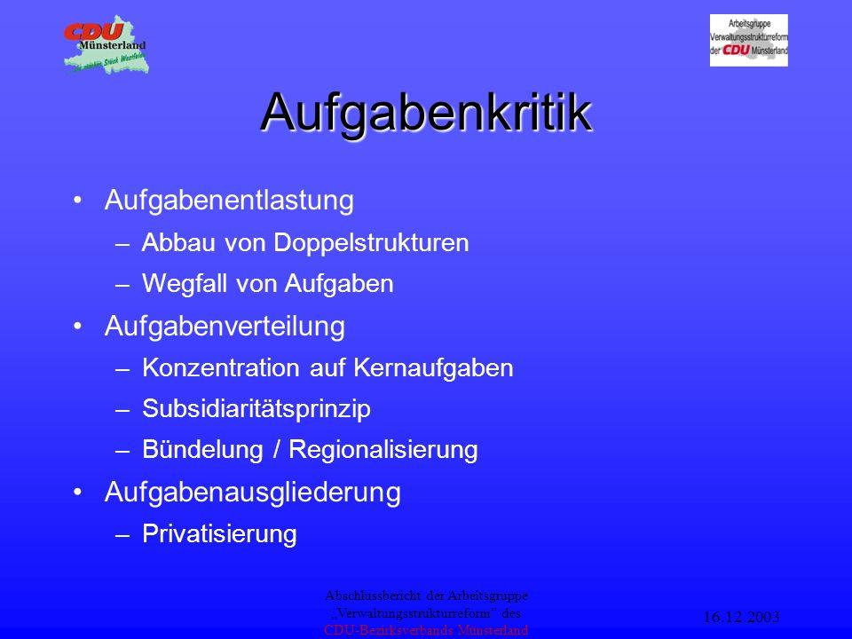 16.12.2003 Abschlussbericht der Arbeitsgruppe Verwaltungsstrukturreform des CDU-Bezirksverbands Münsterland Ziele Entlastung der öffentlichen Haushalte Leistungsfähige Verwaltung Stärkung der kommunalen Selbstverwaltung Berücksichtigung Regionaler Identitäten Bürokratieabbau