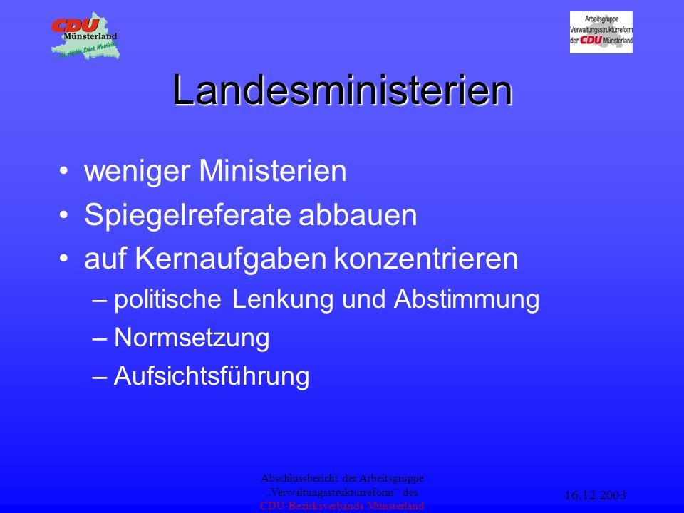 16.12.2003 Abschlussbericht der Arbeitsgruppe Verwaltungsstrukturreform des CDU-Bezirksverbands Münsterland Aufgabenkritik Aufgabenentlastung –Abbau v