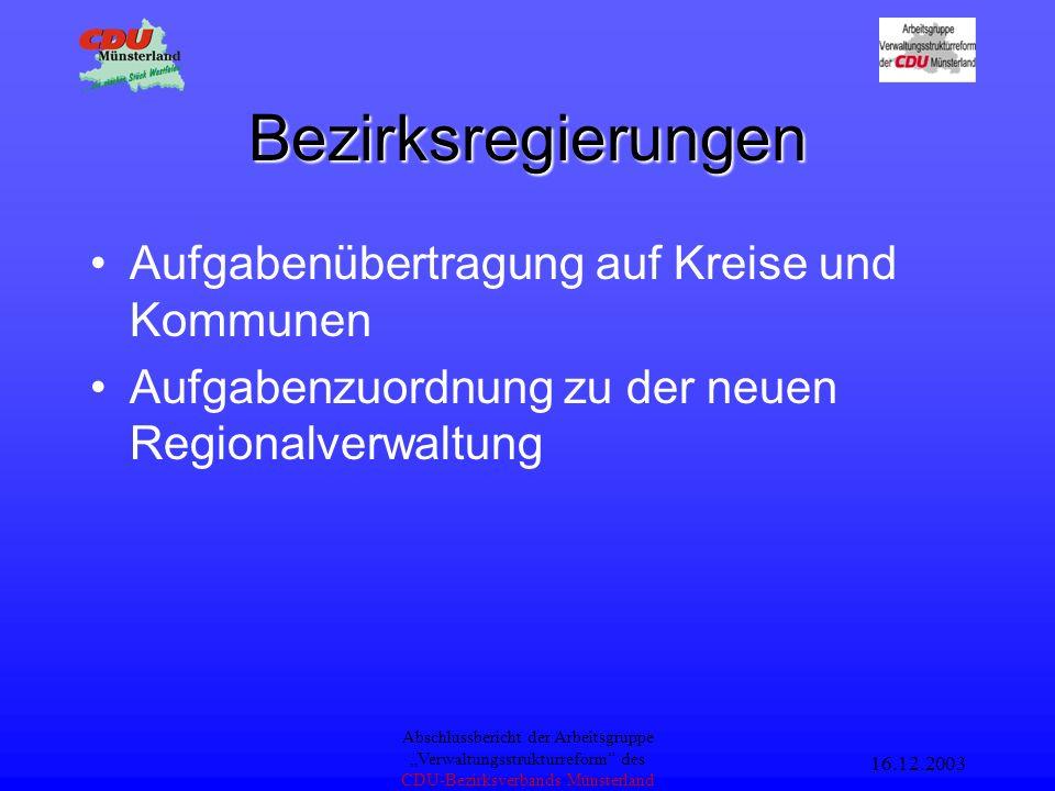 16.12.2003 Abschlussbericht der Arbeitsgruppe Verwaltungsstrukturreform des CDU-Bezirksverbands Münsterland Landesministerien weniger Ministerien Spiegelreferate abbauen auf Kernaufgaben konzentrieren –politische Lenkung und Abstimmung –Normsetzung –Aufsichtsführung