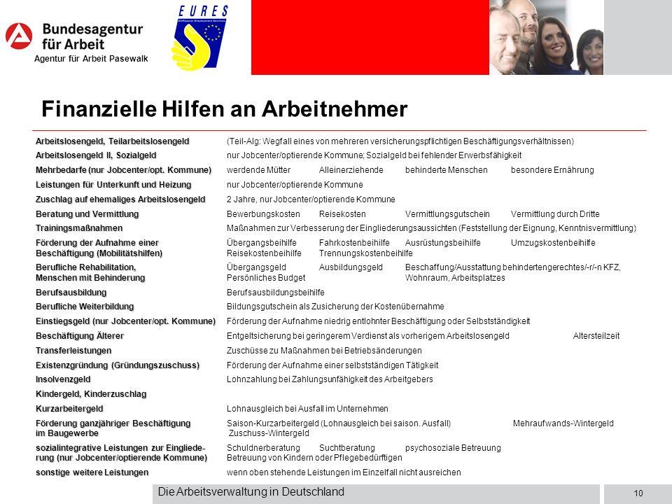 Agentur für Arbeit Pasewalk Die Arbeitsverwaltung in Deutschland 10 Arbeitslosengeld, Teilarbeitslosengeld Arbeitslosengeld, Teilarbeitslosengeld(Teil-Alg: Wegfall eines von mehreren versicherungspflichtigen Beschäftigungsverhältnissen) Arbeitslosengeld II, Sozialgeld Arbeitslosengeld II, Sozialgeldnur Jobcenter/optierende Kommune; Sozialgeld bei fehlender Erwerbsfähigkeit Mehrbedarfe (nur Jobcenter/opt.