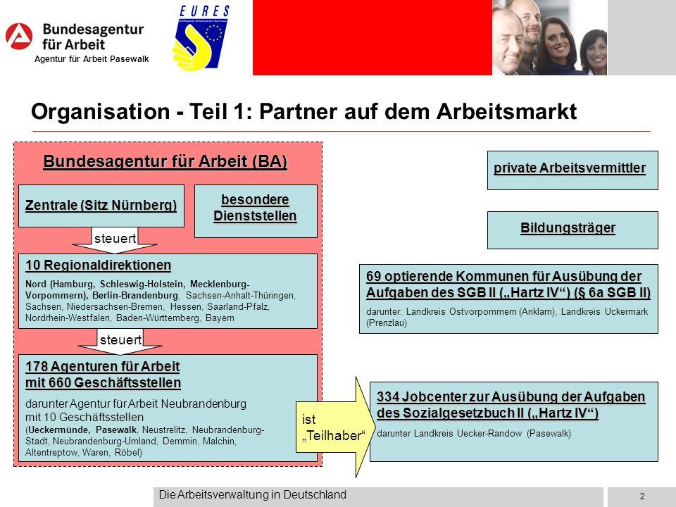 Agentur für Arbeit Pasewalk Die Arbeitsverwaltung in Deutschland 2 Bundesagentur für Arbeit (BA) 178 Agenturen für Arbeit mit 660 Geschäftsstellen dar