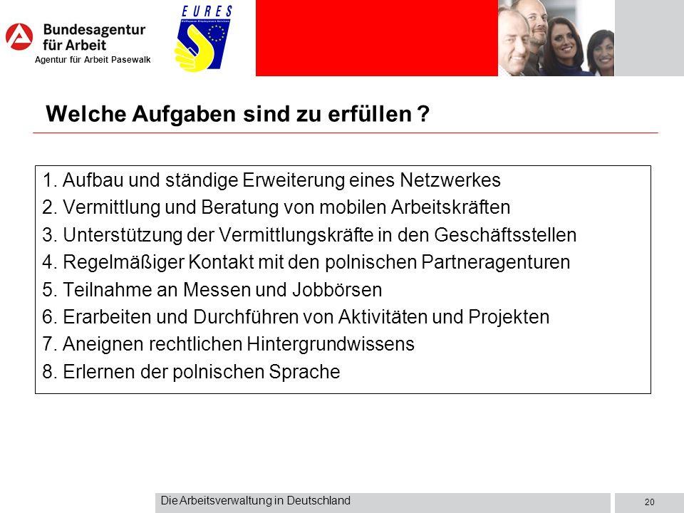 Agentur für Arbeit Pasewalk Die Arbeitsverwaltung in Deutschland 20 Welche Aufgaben sind zu erfüllen ? 1. Aufbau und ständige Erweiterung eines Netzwe