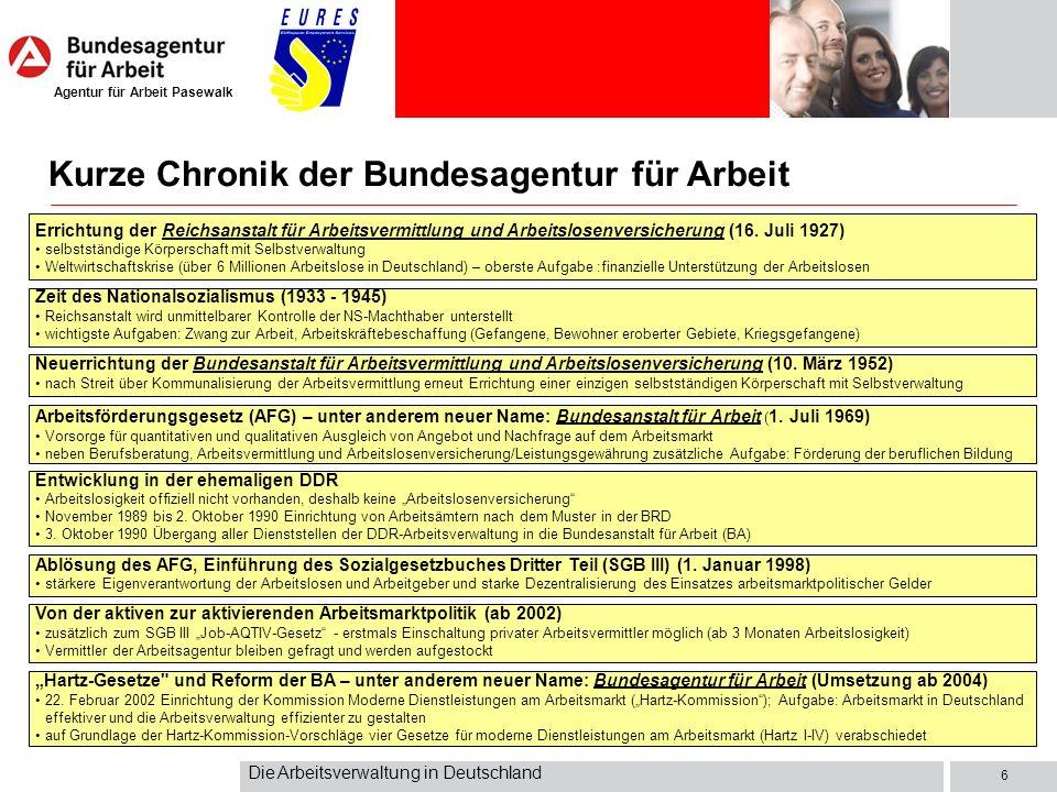 Agentur für Arbeit Pasewalk Die Arbeitsverwaltung in Deutschland 6 Errichtung der Reichsanstalt für Arbeitsvermittlung und Arbeitslosenversicherung (1
