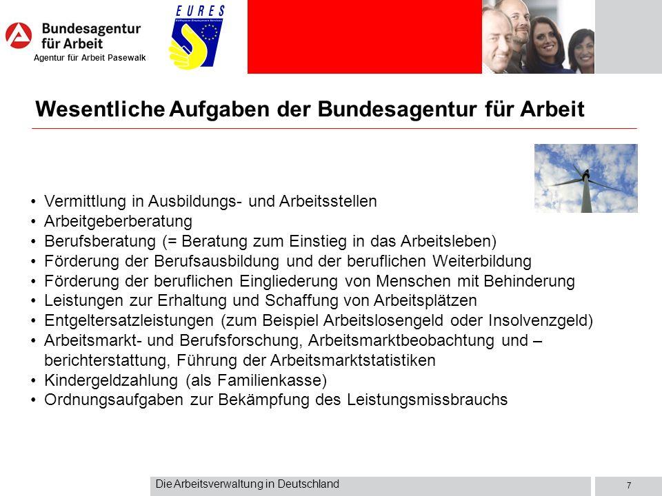 Agentur für Arbeit Pasewalk Die Arbeitsverwaltung in Deutschland 8 BA-Bildungsinstitut (Lauf an der Pegnitz) steuert Bildungsaufgaben und betreut die Bildungszentren der BA in Aalen, Berlin, Daun, Iphofen, Meißen, Mettmann, Münster, Northeim, Nürnberg, Oberursel, St.
