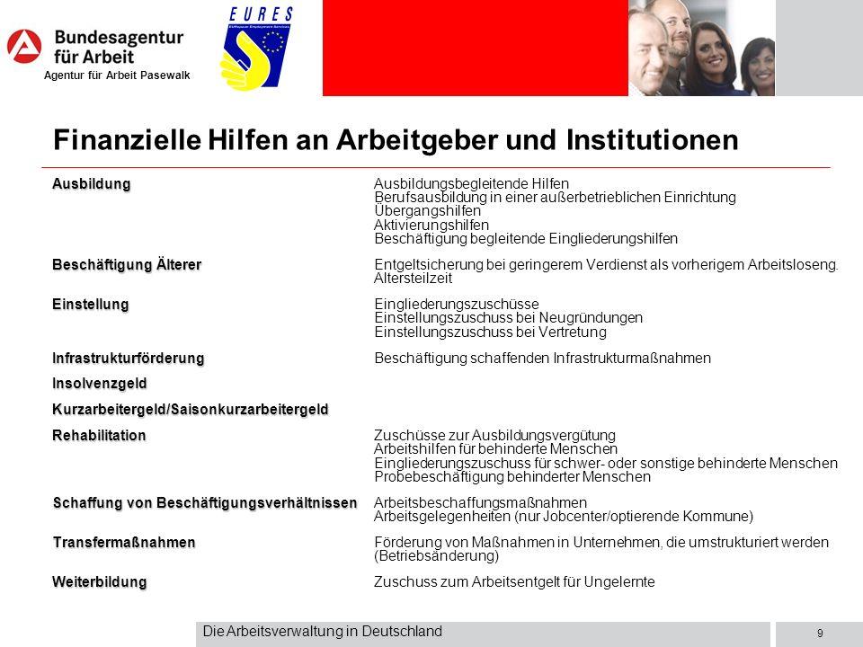 Agentur für Arbeit Pasewalk Die Arbeitsverwaltung in Deutschland 9 Ausbildung AusbildungAusbildungsbegleitende Hilfen Berufsausbildung in einer außerb