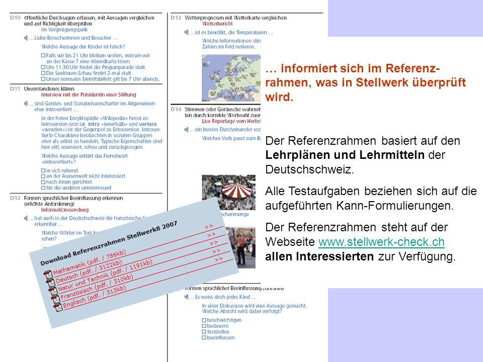 … informiert sich im Referenz- rahmen, was in Stellwerk überprüft wird.
